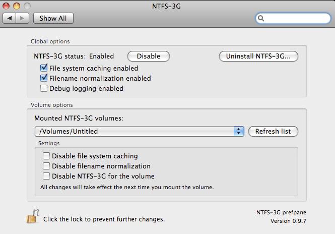 Окно настройки утилиты NTFS-3G