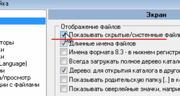 Поставить галочку напротив настроек про скрытые файлы. Принять изменения.