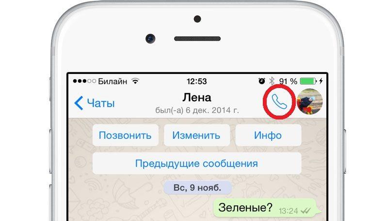 Красным выделен значок, нажав на который можно позвонить любому пользователю WhatsApp, находящемуся в онлайне