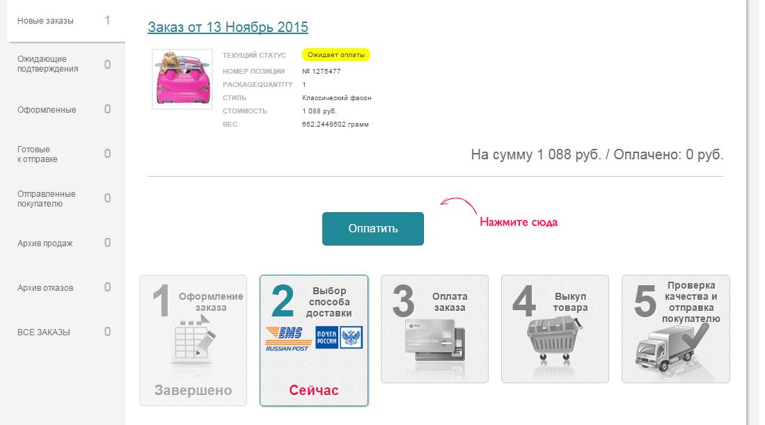 Оплата товара на сайте Nazya