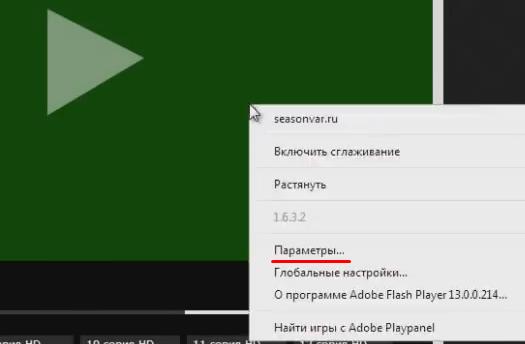 """Ставим на паузу видео, которое открыто с зеленым экраном, и нажимаем """"Параметры""""."""