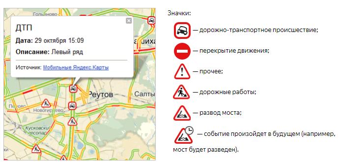 Значки дорожных событий на карте