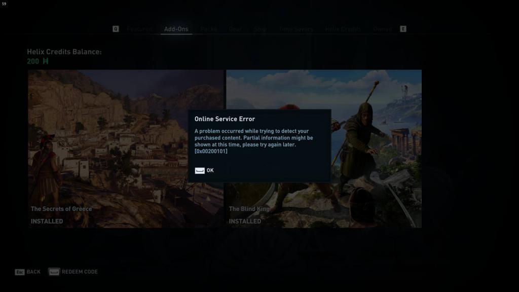 Ошибка сетевого сервера 0x00200101 : Assassin's Creed Odyssey